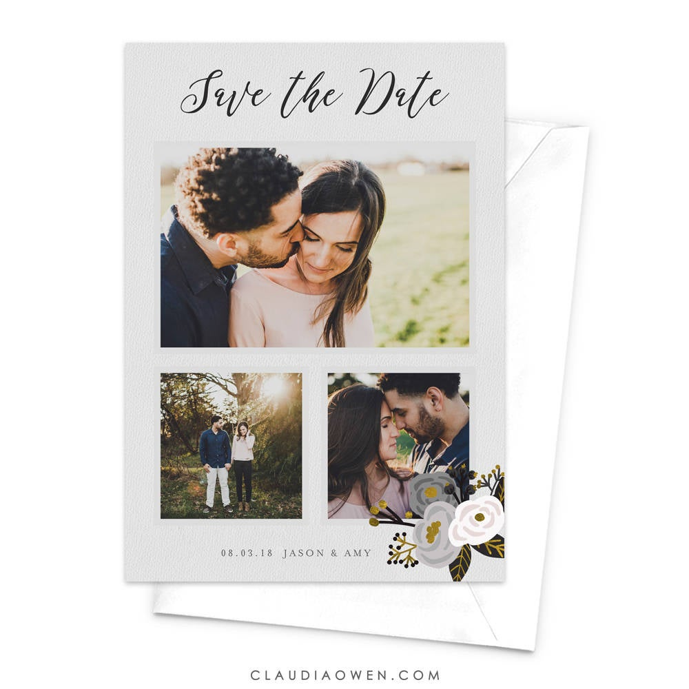 Floral Photo Save The Date Card, Modern Our With 3 Photos, Getting Married Elegant Feminine White Flowers