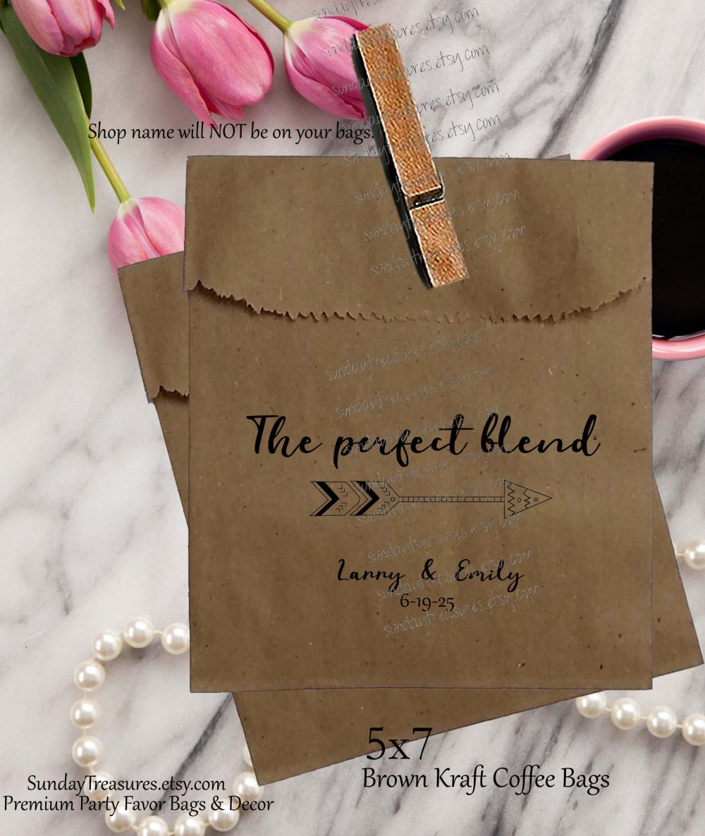 50 Pak Wedding Coffee Favor Bags/Brown Kraft 5x7 Bag Bridal Beans The Perfect Blend Personalized 1-2 Dayship