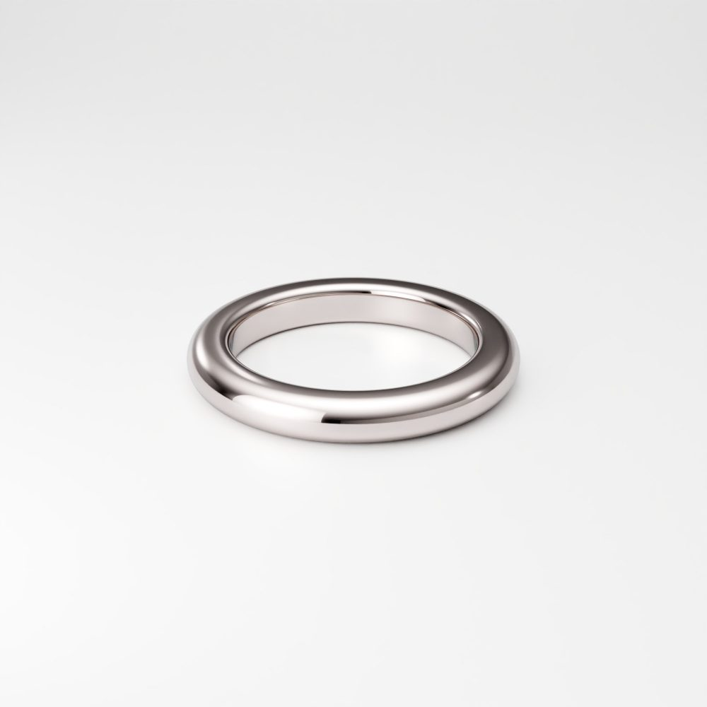 3mm X 14K White Gold Band Ring, Thick Solid Band, Plain Rounded Domed Ring Heavy Men's Women's Wedding