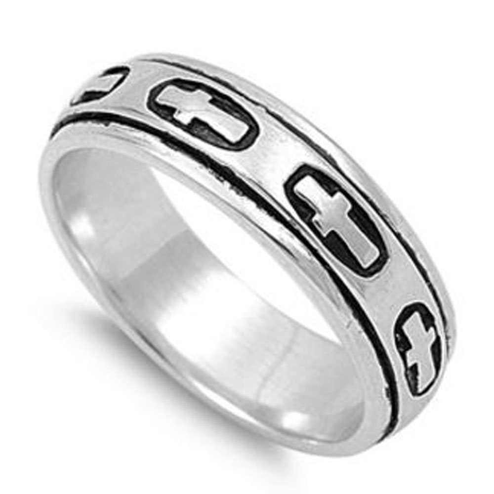 Custom Engraving Men Women 5mm 925 Sterling Silver Band Cross Spinner Ring/Gift Box(Snrp141767