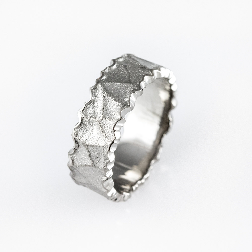 Men's Alternative Wedding Ring, Men's White Gold Band, Strong, Durable Man's Contemporary His & Hers Ring