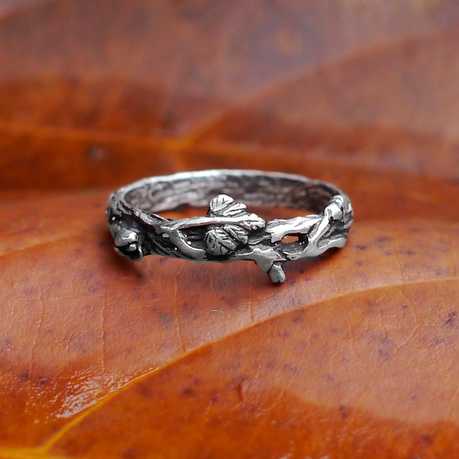 """Women's Sterling Silver Twig Band """"Mio"""", Organic Silver Band For Women, Antique Leaves Wedding Band, Promise Tree Branch Ring"""
