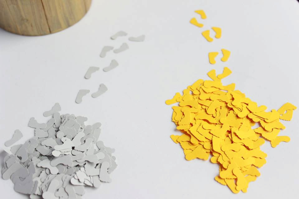 Baby Feet Confetti in Yellow & Grey, Shower Table Scatter, Confetti, Grey