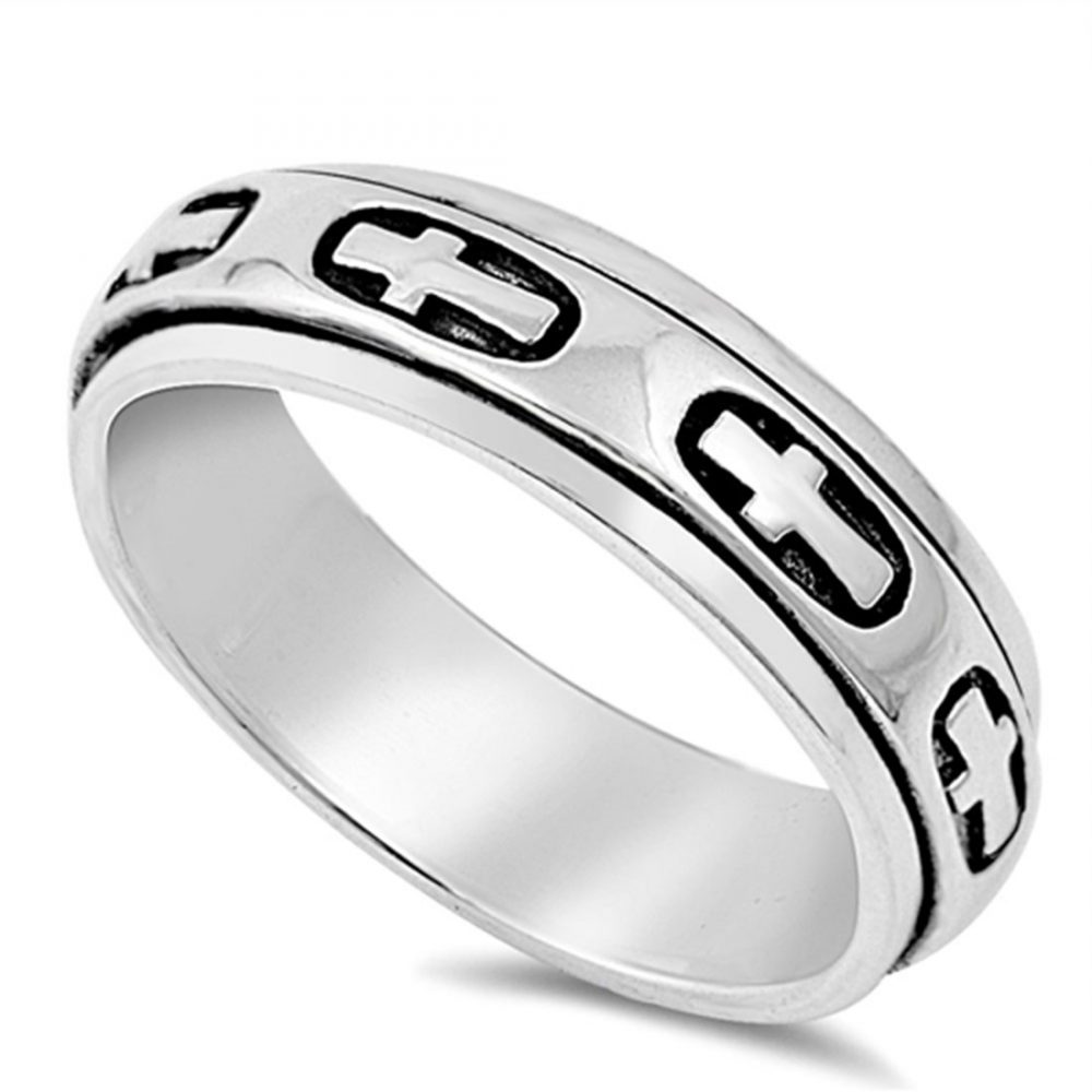 Custom Engraving Men Women 8mm 925 Sterling Silver Band Cross Spinner Ring/Gift Box(Snrp140391