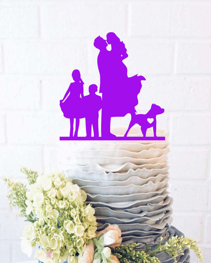 Groom Lifting Up Bride Wedding Cake Topper Bride & Groom Silhouette Cake Topper With Dog Family Grooms Mr Mrs