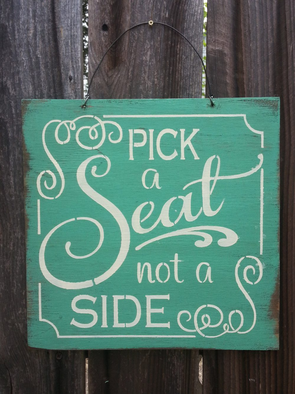 Pick A Seat Not Side Sign, Wedding Sign, Decor, Signage, Rustic 141
