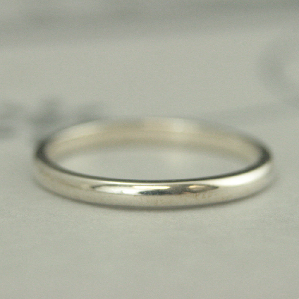 Plain Silver Band Simple 2mm Wide Ring Women's Wedding Stacking Stackable Thick Substantial By 1.5mm