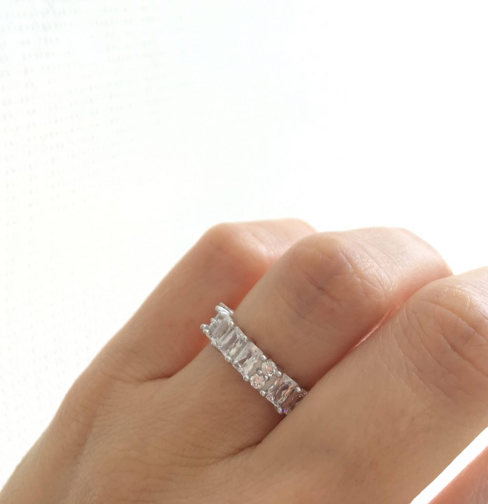 sterling Silver Band Ring. Emerald Cut Cz Eternity Wedding Band. Thick Rings. Packed in A Luxury Gift Box. 4mm