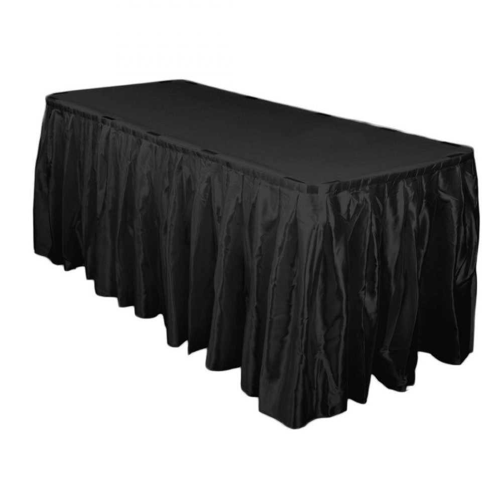 14 Ft. Accordion Pleat Satin Table Skirt Black | Wedding Skirts
