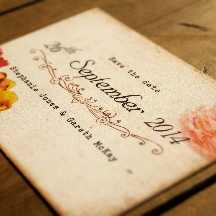 Personalised Shabby Chic Postcard Wedding Save The Date Card Or Save Date Magnet Vintage/Retro Floral Flowers