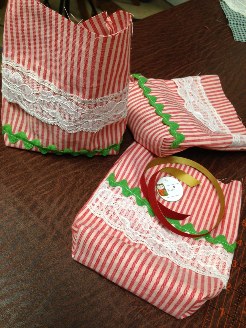 """Holiday Cookie Bag, 3 Christmas Fabric 6 X 7"""" Gift Bags. Vintage Candy Cane Stripe, Rick Rack, Lace Trims"""