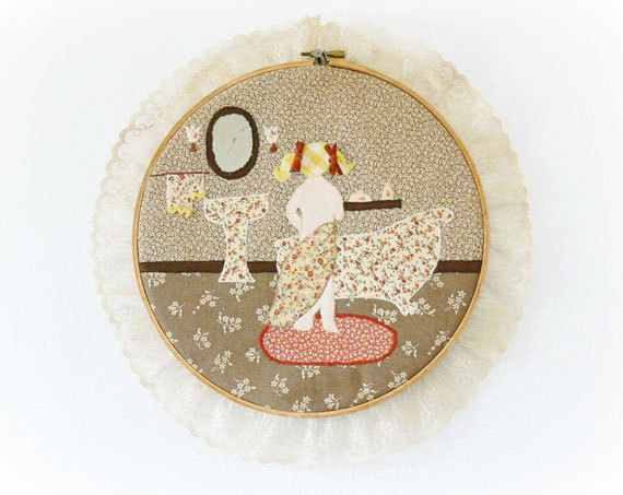 Vintage 70S Embroidered Calico Hoop Art Novelty Bath Bathroom Girl Print Patchwork Fabric Lace Trim Brown