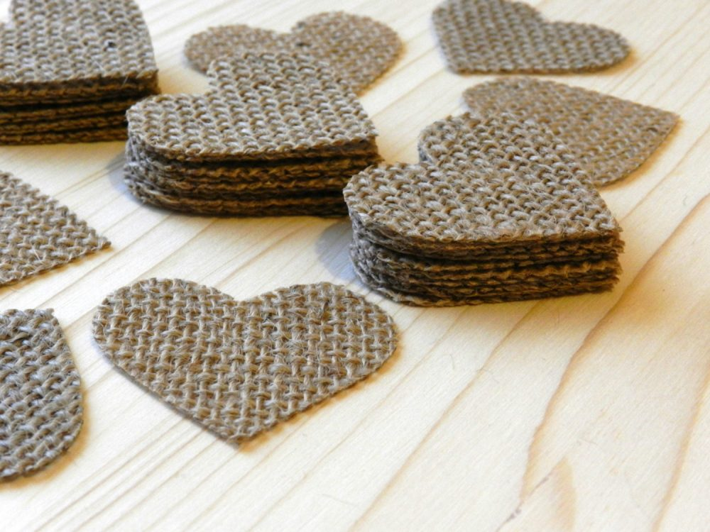 400-1000 Stiffened Heart Shaped Table Scatter, Confetti, Burlap Hearts, Wedding Decor, Wedding, Scatter