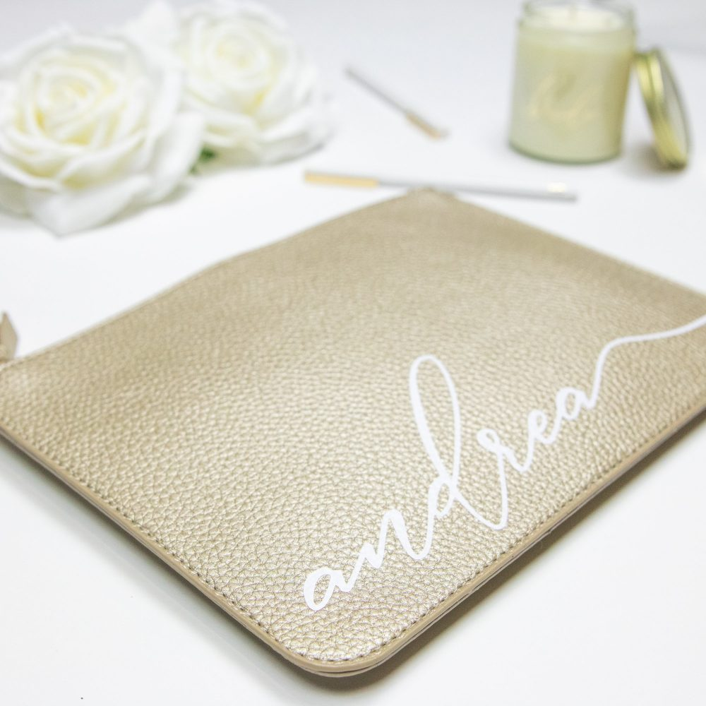Gold Personalized Vegan Leather Clutch Bag - Cursive Script Custom Name Makeup Cosmetic Best Friend Gift Bridesmaid B-Cb05Gd