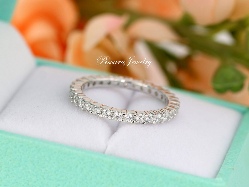 2.0mm Round Eternity Band Ring, Wedding Matching Band, Stacking Rings, Full Sterling Silver