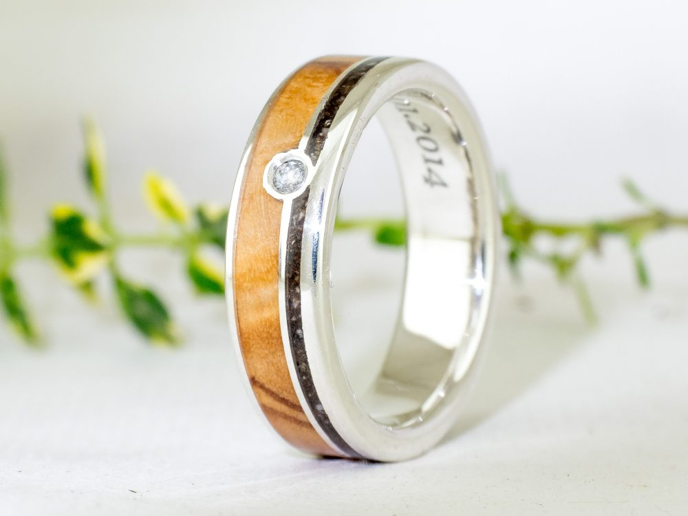 Silver, Forest Dust, Olive Wood Ring & 2mm Diamond . Mens Wedding Band, Mens , Jewelry, Engagement Groom Bride