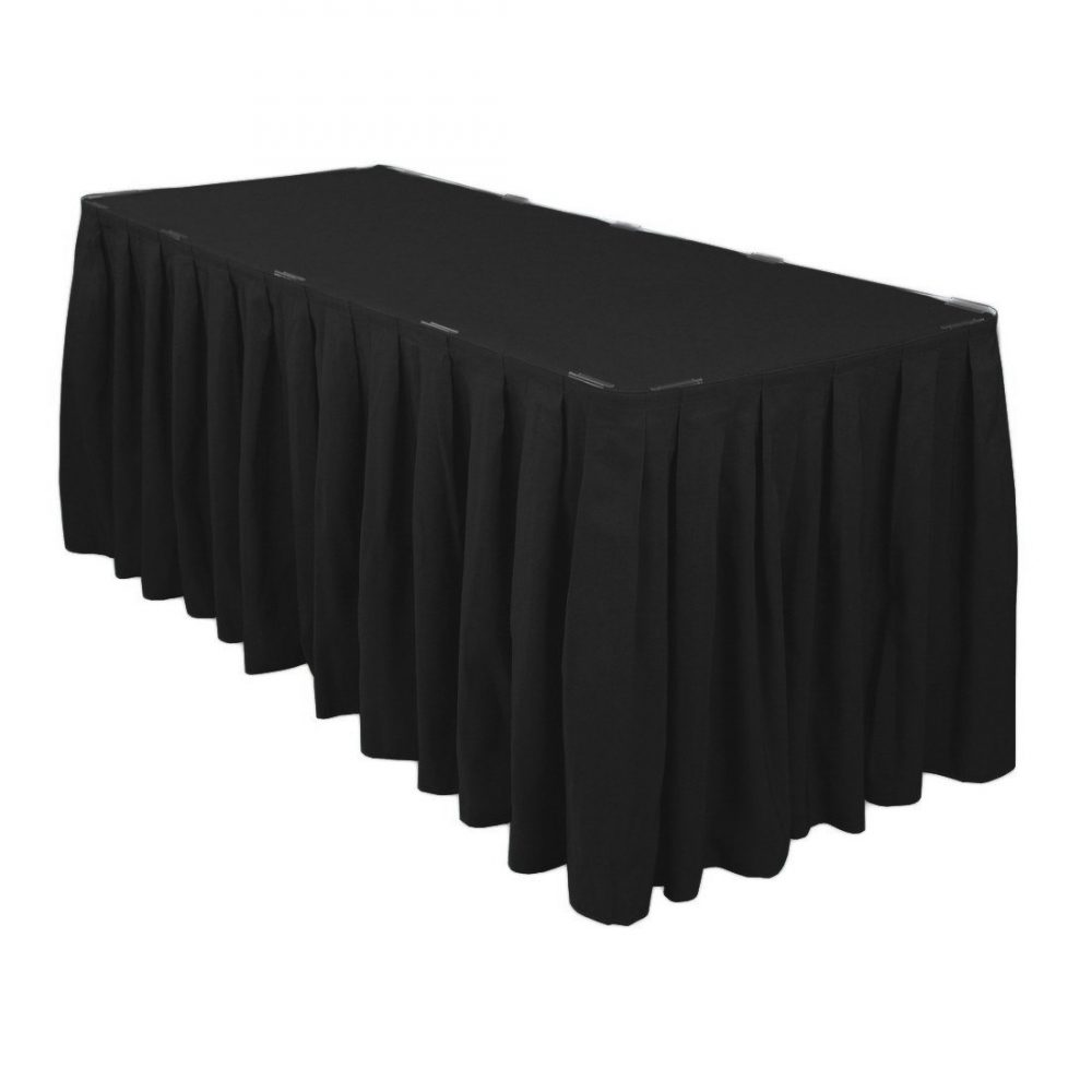 14 Ft. Accordion Pleat Black Table Skirt Polyester | Wedding Skirts