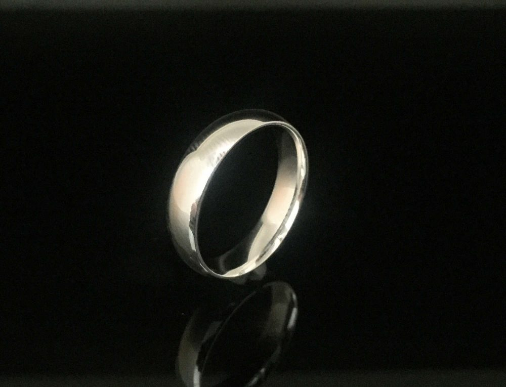 4mm Silver Band Ring // 925 Sterling Plain Wedding
