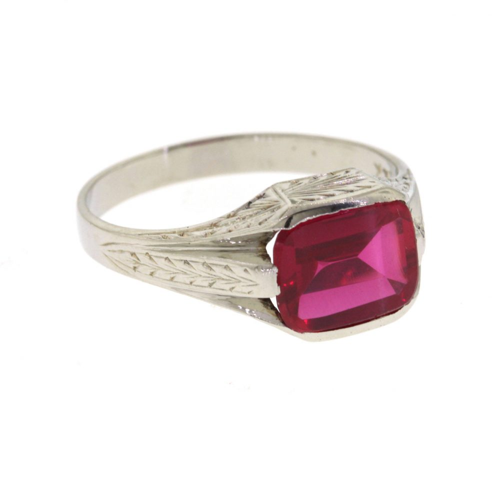 Vintage Art Deco Ruby Ring, Antique Hand Engraved Men's White Gold Simulated Ring