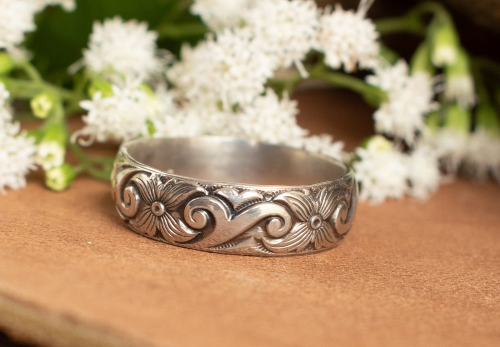Wide Wedding Ring - Sterling Silver Band Sterling Floral Jewelry Western For Her Rings Women