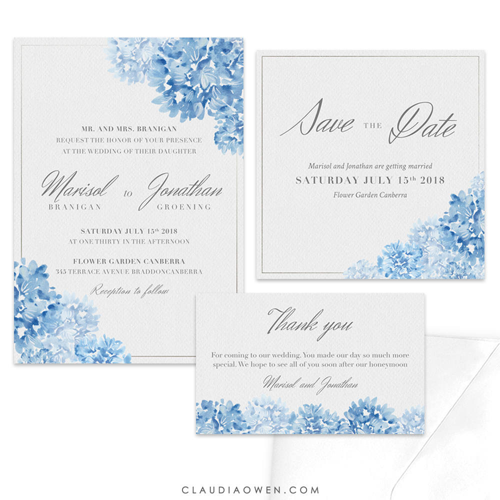 Floral Romantic Wedding Invitation Set, Blue Flower Design Invites, Save The Date, Thank You Card, Watercolor Illustration