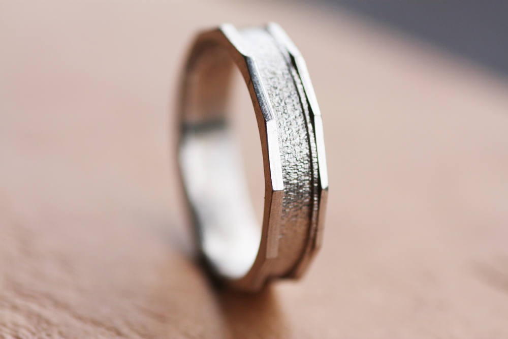 Men's White Gold Band, Textured Ring, Man's Wedding Personalized Handmade Woman's Band
