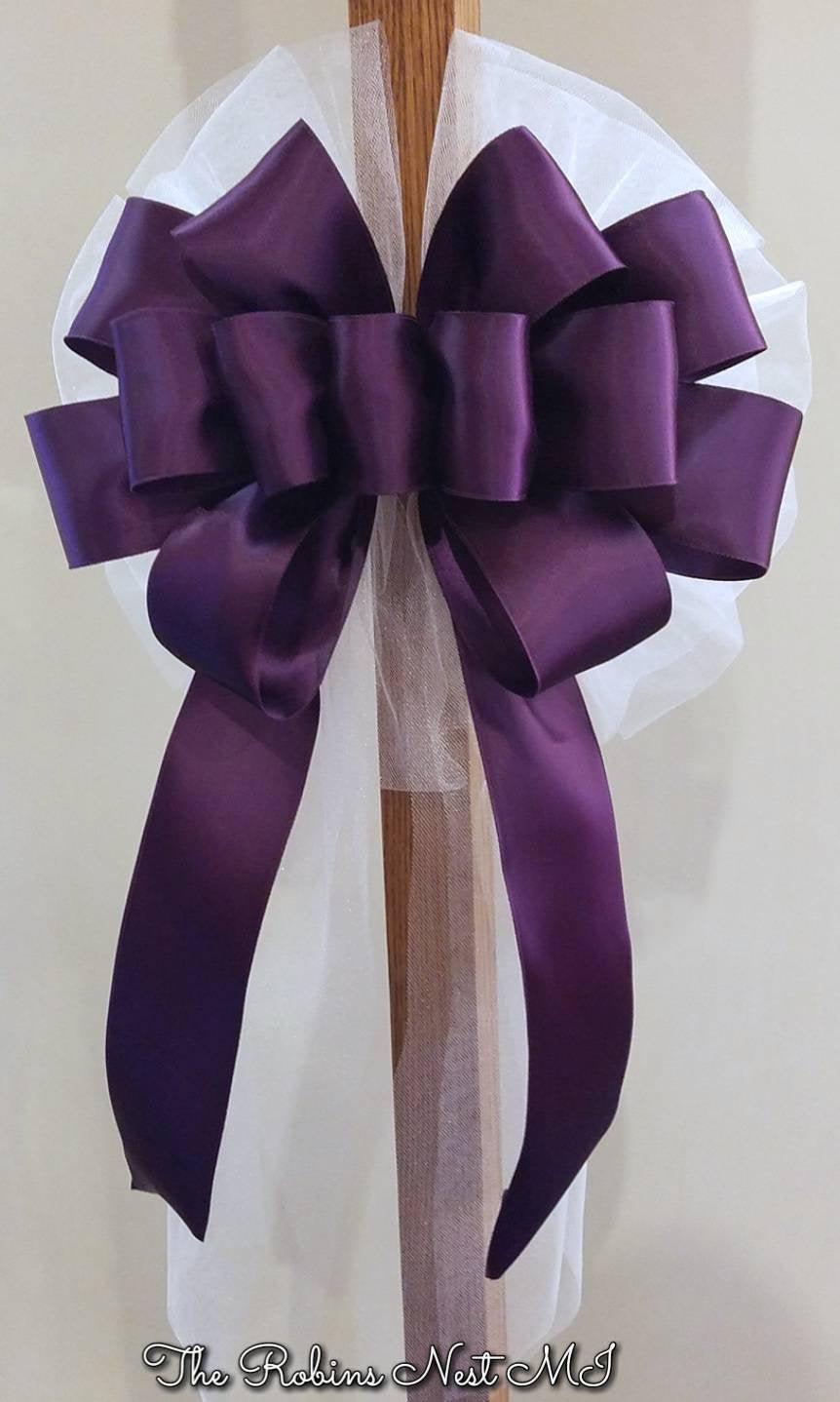 Purple Bows Eggplant Aubergine Satin Bow Wedding Church Aisle Pew Ivory Tulle Ceremony Decorations Bridal Shower Reception