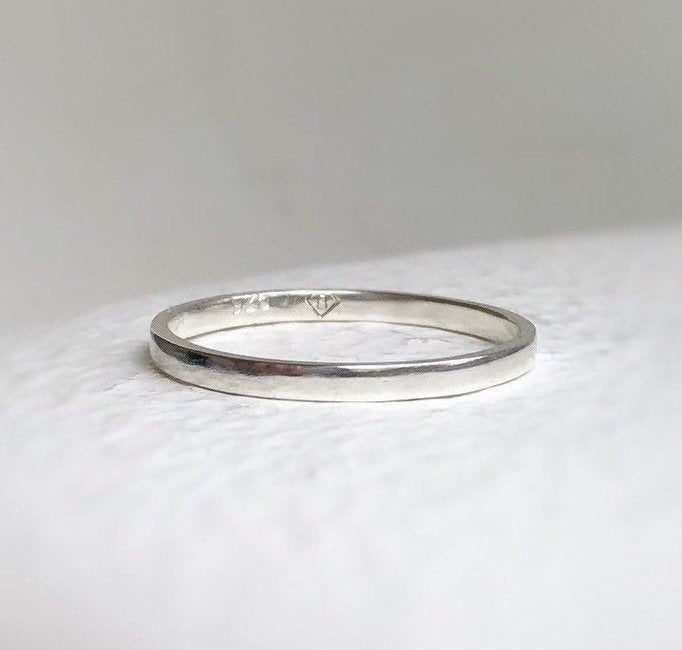 925 - 2mm Semi-Polished Wedding Ring Ethical -Thin Sterling Silver Band, Minimal Silver