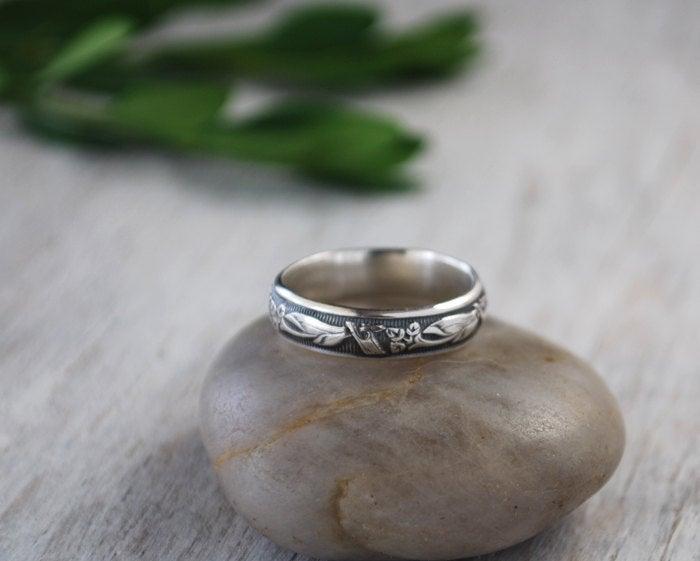 sterling Silver Band Ring - Art Nouveau Patterened Handforged Wedding
