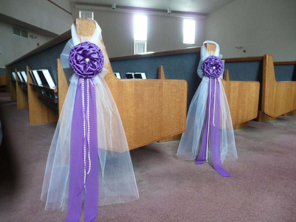 Purple Elegant Wedding Bows Pew Church Aisle Decorations