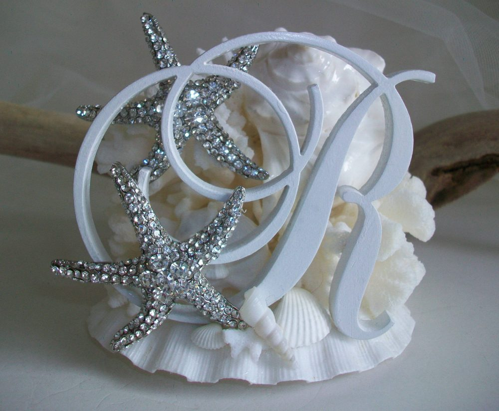 Beach Theme Wedding Monogram Cake Topper | Choice Of Letter, Shell Coral With Jeweled Starfish