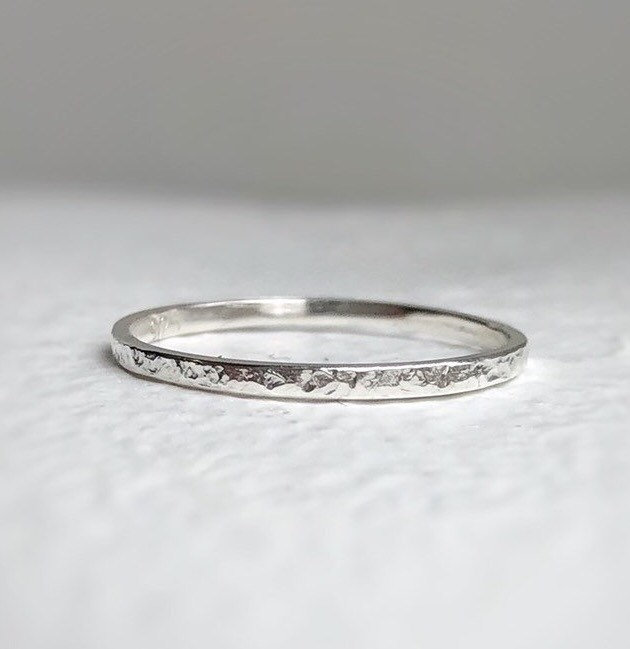 Thin Hammered Wedding Ring - Sterling Silver Band, Minimal For Her. Eco Friendly & Sustainable