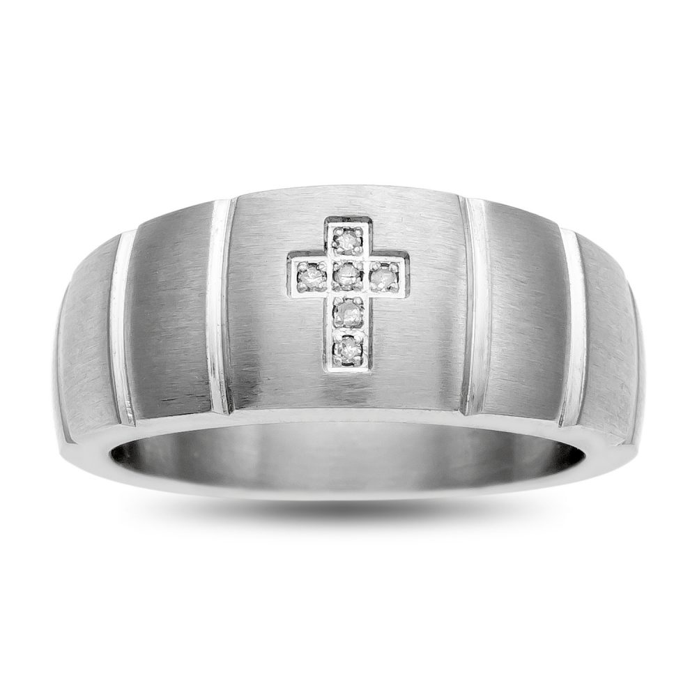 Cross Band Ring, Stainless Steel Men's Diamond Accent Band, Christian Rhinestone Ring