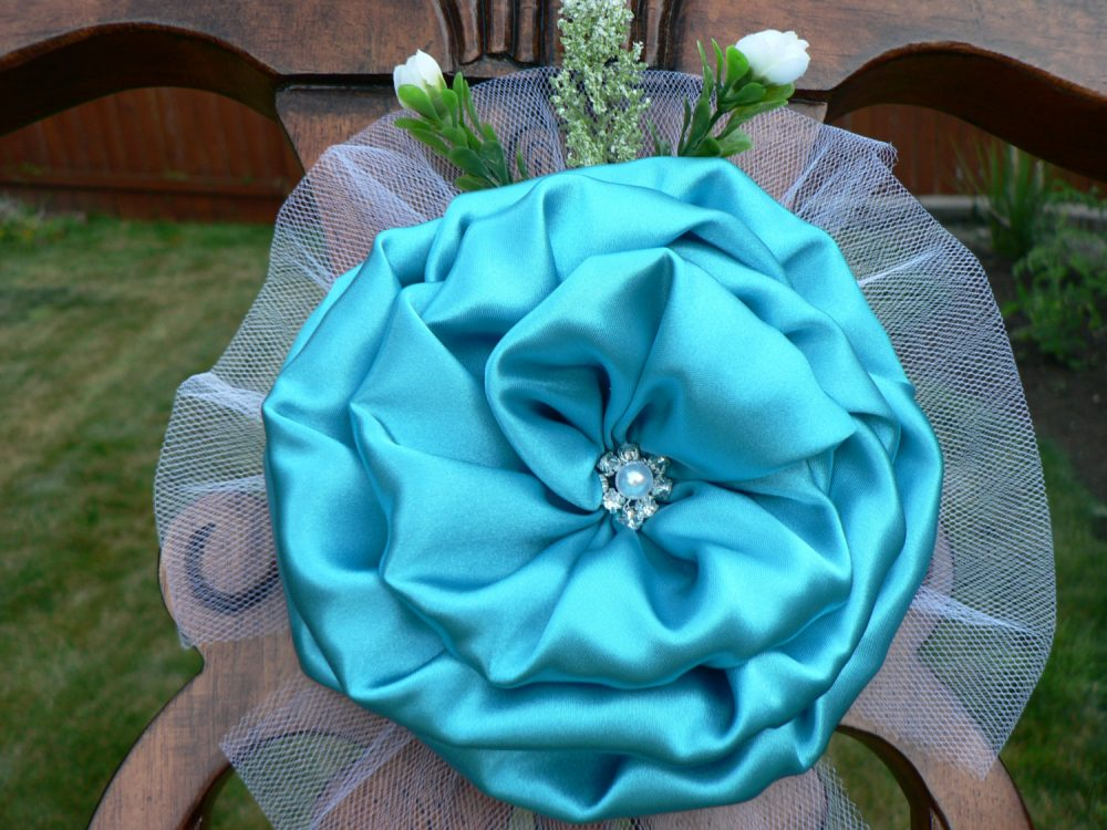 Turquoise/Teal Satin & Tulle Gems Flower Peony Elegant Wedding Bows Pew Church Aisle Decorations