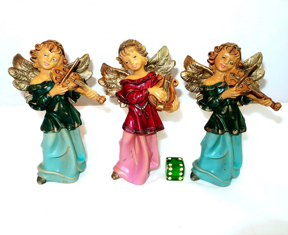 3 Fontanini Angel Musicians Playing Violins & Harp Nativity Italy Resin Figurines Christmas Orchestra Band Gold Pink Religious Lover Gift