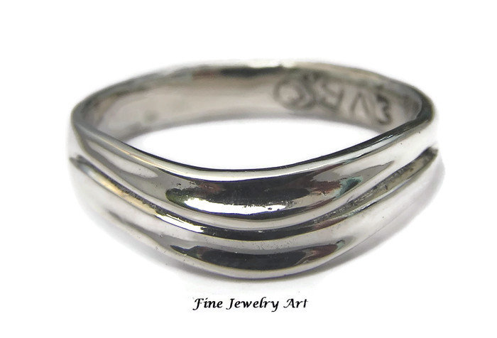 Mens 14K White Gold Wedding Ring Band Curved Two Wave Design - Unique Original Non Traditional Sculpted Comfortable Jewelry Art