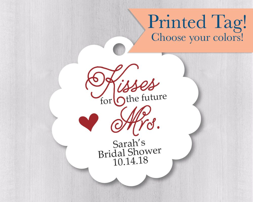 Kisses For The Future Mrs., Bridal Shower Chocolate Favor Tags | Sc-045