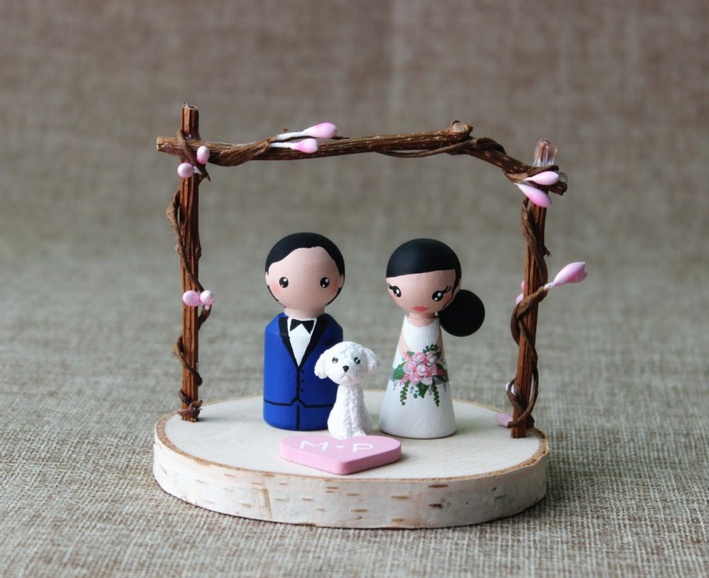 Custom Cake Topper Bride & Groom Wedding With Dog - Figurines Unique Toppers Peg Dolls