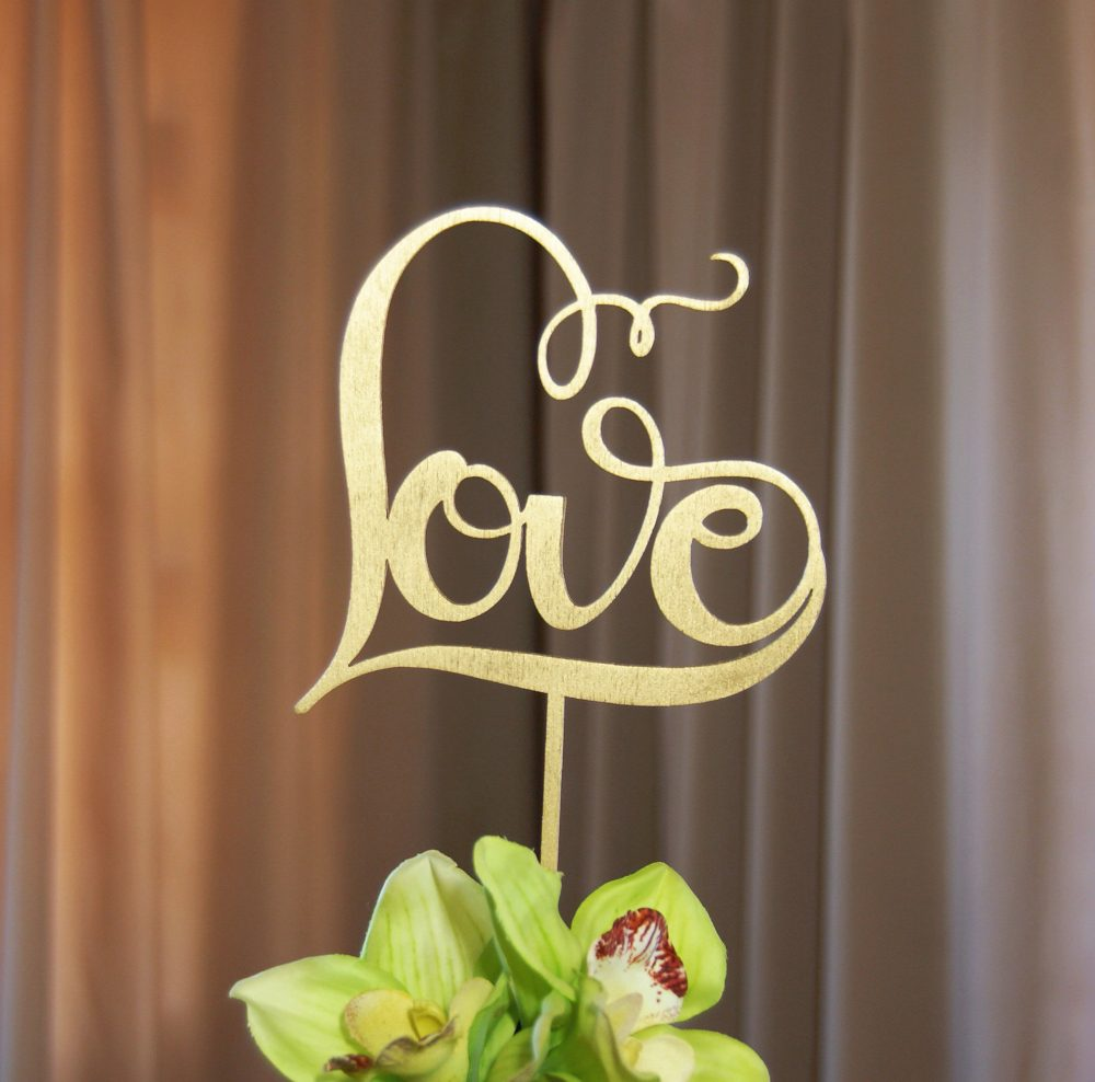"""Gorgeous """"Love"""" Cake Topper For Any Occasion - Wedding, Bridal Shower, Engagement Party, Anniversary, Valentine Day Elegant, Rustic-Chic"""