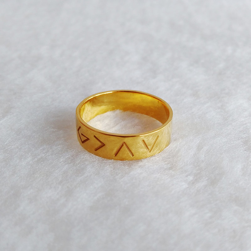 Engraved Christian Ring Gold, God Is Greater Than The Highs & Lows Ring, God Ring, Custom Specific Ring, Specific Symbols Ring, Christmas Gift