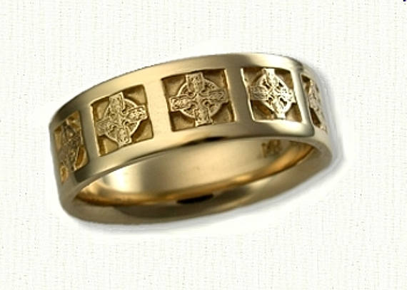 Celtic Elsinore Knot Religious Wedding Band - Reverse Etch -6-7 Mm 14Kt Any Color Gold Or Sterling Silver