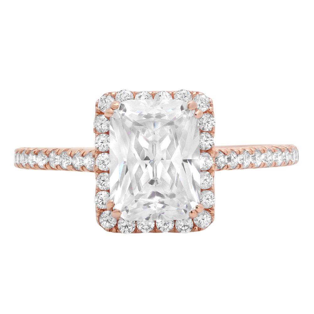 1 Ct Emerald Cut Moissanite & Simulated Halo Engagement Promise Bridal Wedding Anniversary Statement Ring Rose Gold Band