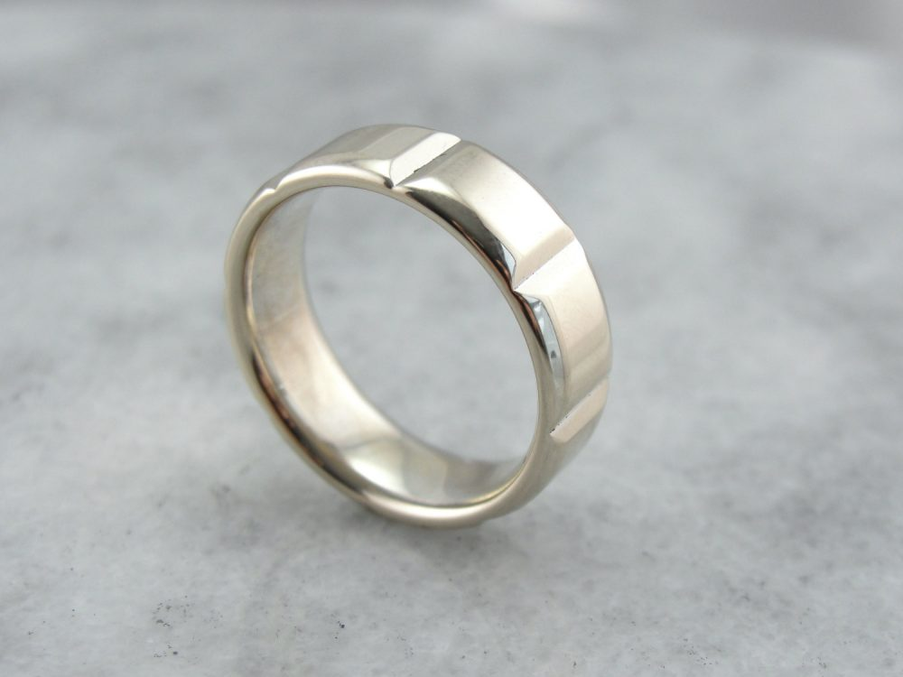 Industrial Style, Heavy Men's White Gold Band 75Tx7J-R