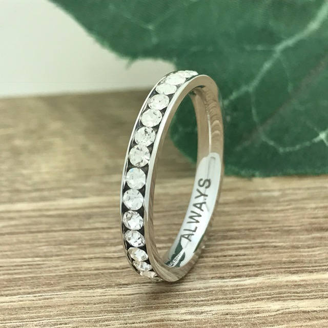 3mm Silver Eternity Wedding Ring, Personalized Custom Engrave Cz Band Purity Promise Ring