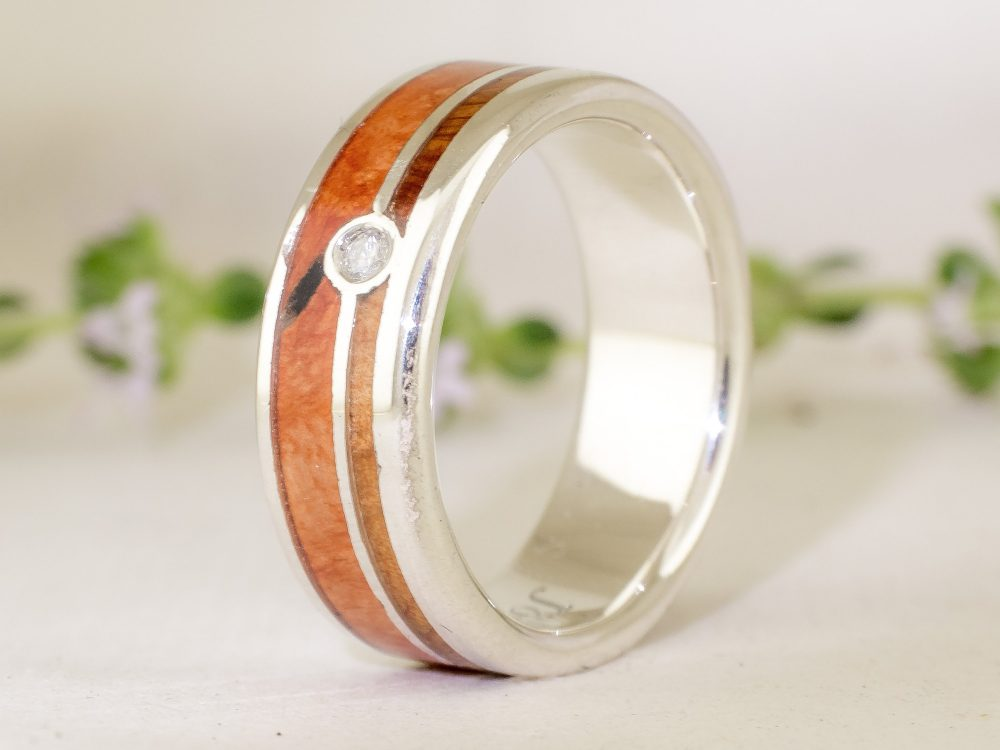 Briar Burl & Juniper Silver Wood Ring 2mm Diamond . Mens Wedding Band, , Jewelry, Ring, Jewelry