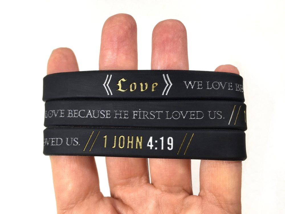 1 John 419 Religious Verse Bible Scripture Faith Love Support Bracelet Silicone Band Awareness Ladies Mens Womens Adult 202mm Black