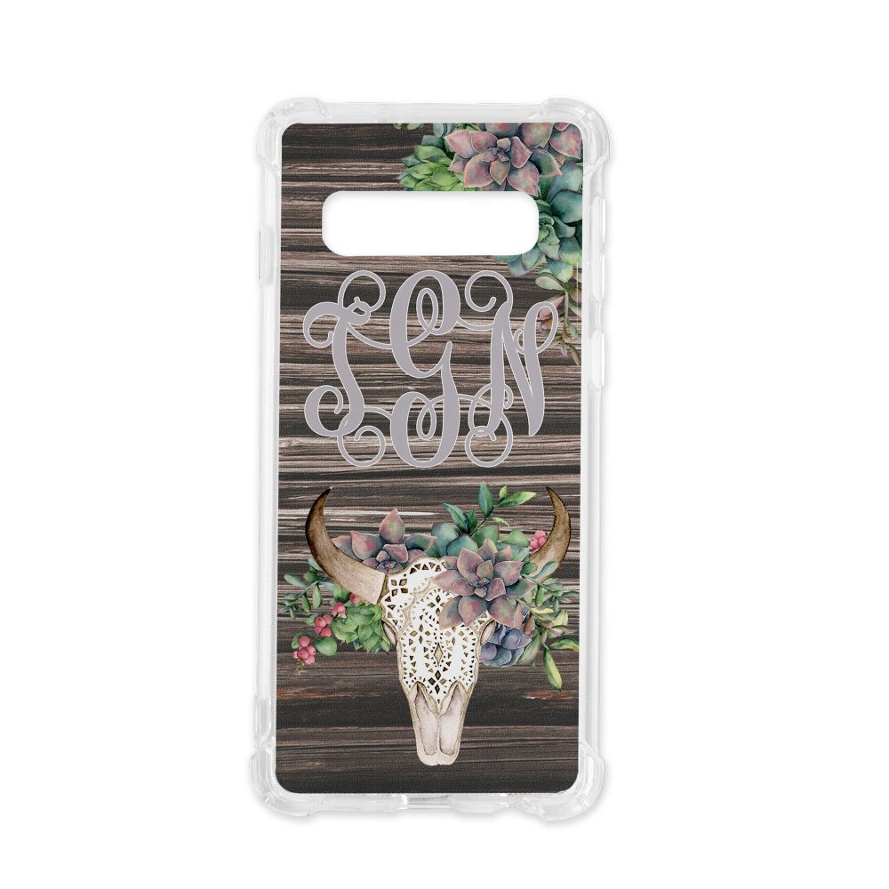 Personalized Monogram Phone Case Green Succulent Floral Bull Skull Distressed Wood Background Clear Plastic Flexible For Samsung Galaxy