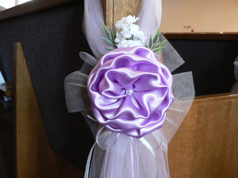 Set Of 6 Lavender Satin & Tulle Pearl Flower Peony Elegant Wedding Bows Pew Church Aisle Decorations