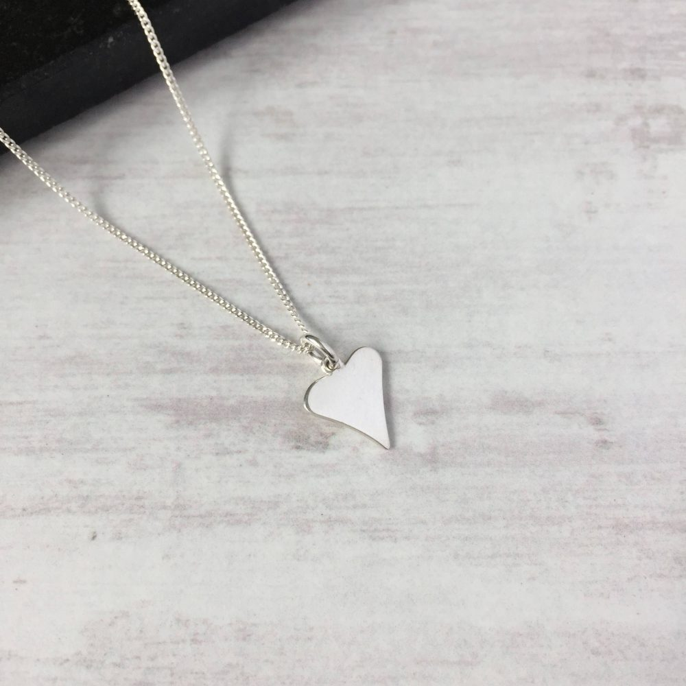 Silver Heart Necklace, Shiny Jewellery, Sterling Love Gift, Wedding Uk