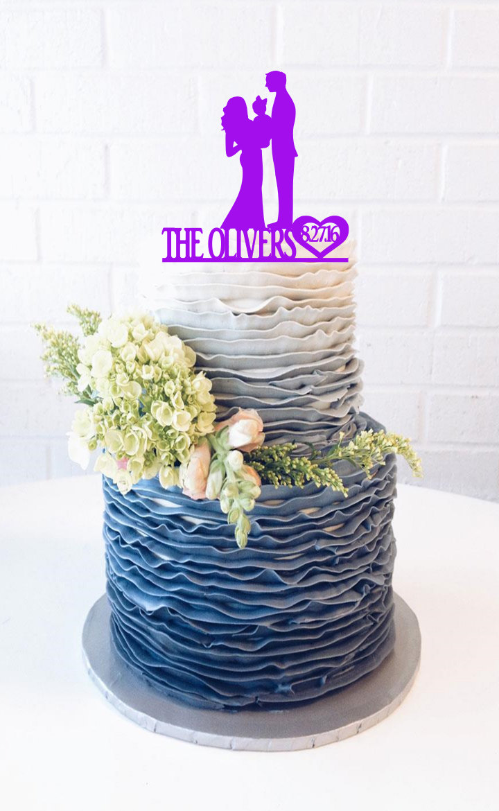 Groom & Bride Dancing Wedding Cake Topper With Surname & Date Big Custom Cake Topper Wedding Family Silhouette Top